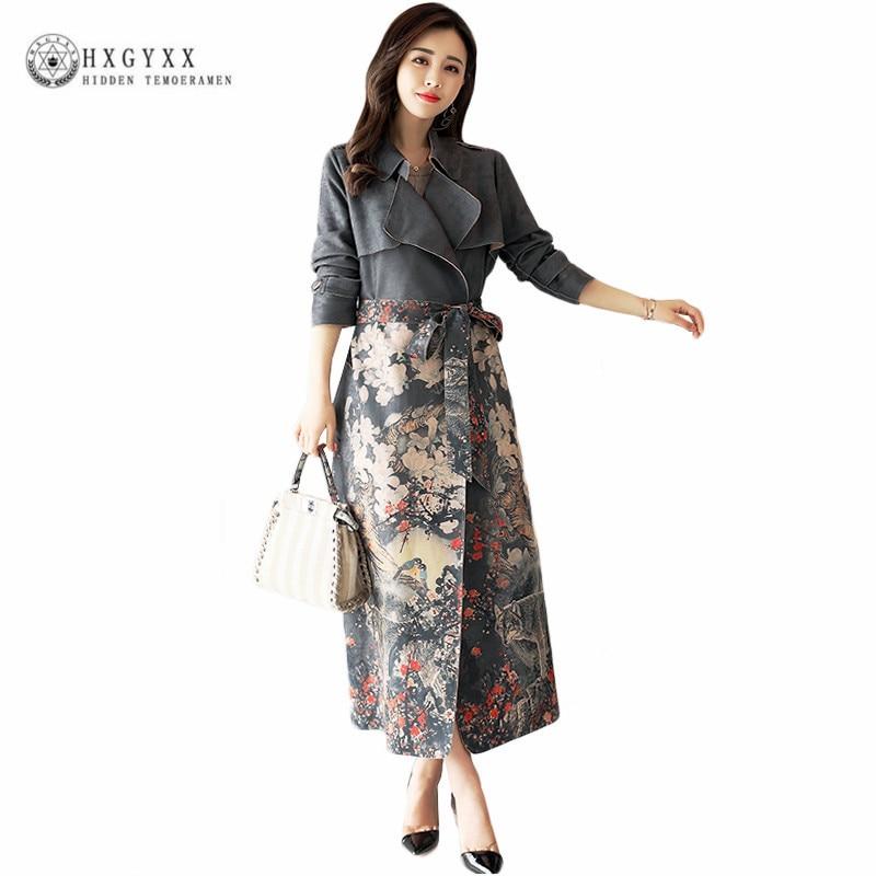 Plus Size Suede Fabric Long Trench Coat Women 2018 Fashion Ladies Coats Belt Floral Print Female Overcoat Windbreaker Okb889