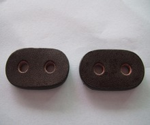 Free shipping brown  genuine leather for sewing    cord lock  leather stopper 100pcs