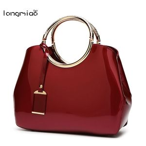 longmiao Brand New Designer Women's Patent Leather Shoulder Handbags High Quality Luxury Women Bags Female Tote Shell Bag