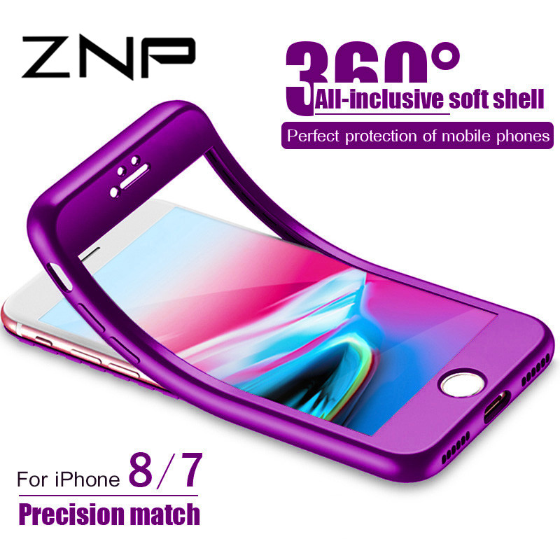 ZNP Luxury Soft TPU 360 Full Cover Cases For iPhone 8 7 6S 6 Case 5 5S SE Cover Case For iPhone 6 6S 7 8 Plus Case With Glass