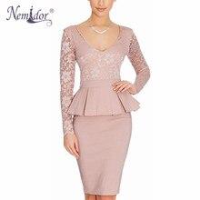 Nemidor Hot Sales Women Long Sleeve Bodycon Office Business Work Dress Ruffles Peplum Casual Summer Pencil Lace Dress