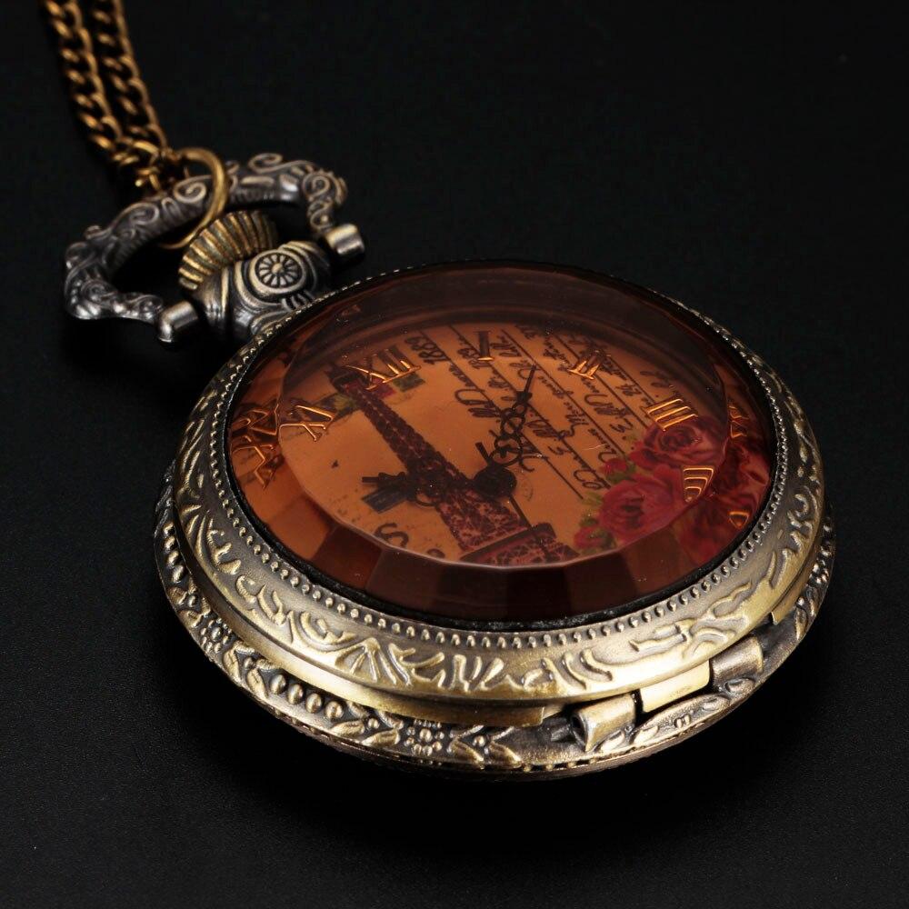 142fa4beb Top Montre Pocket Watch Women's Fashion Vintage Diamond Transparent Crystal  Face Classic Roman Ladies Fob Watch Retro Carving
