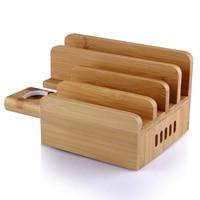 Home Portable Bracket Eco friendly For Phone Tablet Station Holder Office Practical Bamboo Charging Stand Desktop Multi USB Dock