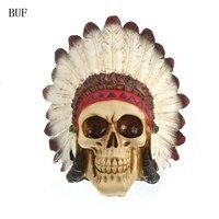 BUF Ofício da Resina Estátuas Para Decoração Criativa Crânio Do Crânio Do Estilo Indiano Figurinhas Escultura Casa Acessórios de Decoração
