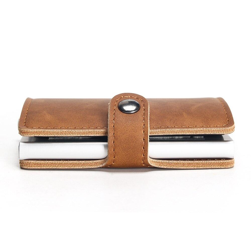 Алюминий бумажник с заднего кармана ID держатель для Карт RFID Блокировка мини-волшебный кошелек бумажник автоматические всплывающие кредитн...