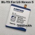 3800 mah bateria de la batería del teléfono móvil para lg google nexus 5 bl-t9 batería nexus g d820 d821 nexus5 e980 megalodon d8