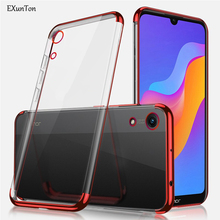 EXUNTON For Huawei Honor 8A Plating Soft Shockproof Ultra Thin Bumper Case Simple Clear Back TPU Silicon Cover