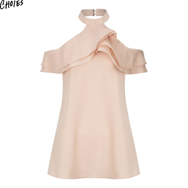 84dfe8f2a4c4 Summer Pink Halter Ruffles Layered Cold Shoulder Backless Mini Chiffon Dress  Women Short Sleeve Casual Loose Shift Short Dresses