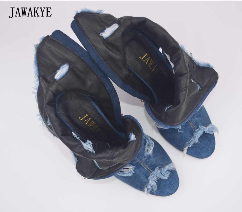 JAWAKYE mavi kot jean yarım çizmeler kadın tıknaz yüksek topuk peep toe cut outs kadın ayakkabı püskül kot çizme