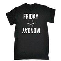 Hombres viernes lunes triste feliz Cara broma divertida oficina trabajo camiseta ropa casual manga corta Camisas