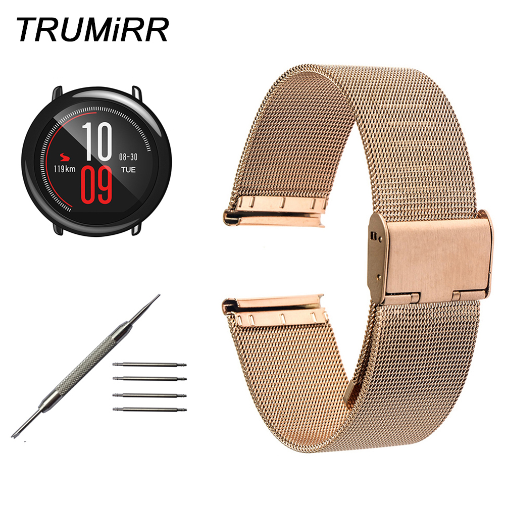 Milanese Watchband 20mm 22mm for Xiaomi Huami Amazfit Bip BIT PACE Lite Watch Band Stainless Steel Strap Wrist Belt Bracelet 20mm 22mm stainless steel watchband quick release strap for amazfit huami xiaomi bip bit pace lite watch band wirst bracelet
