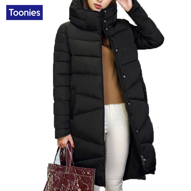 Winter Cotton-padded Jacket Parka Coat Women Long Solid Slim Thickened Turtleneck Warm Outwear Casacos Fashion Coats Plus Size