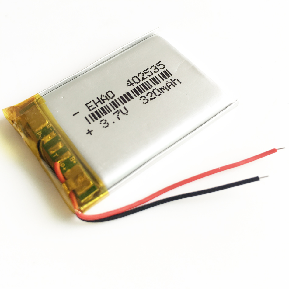 <font><b>3.7V</b></font> <font><b>320mAh</b></font> 402535 Lithium Polymer LiPo Rechargeable Battery For Mp3 GPS smart watch headphone PAD DVD E-book bluetooth headset image