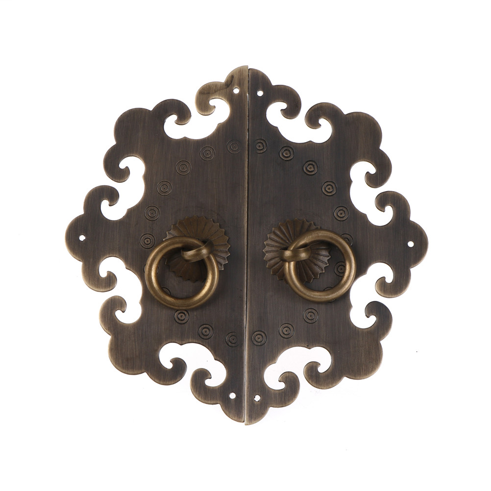 Chinese Cabinet Face Door Vintage Furniture Fittings Brass Hardware Plate Set Door Cupboard Pull Handle Knobs For Furniture 1 set antique dynasty furniture copper fittings cupboard cupboard brass handle