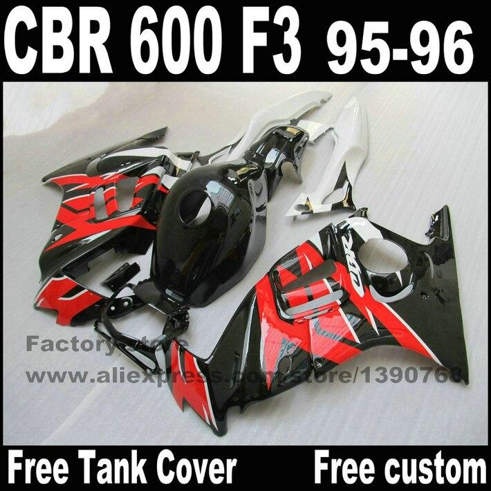 Fairings set for HONDA CBR 600 F3 1995 1996 glossy black red high quality fairing kit cbr600 95 96 +tank cover YP71