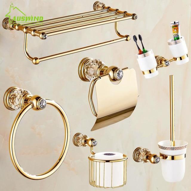solid brass crystal bathroom accessories set polish finish gold bathroom hardware set europe antique bathroom products - Bathroom Hardware Sets