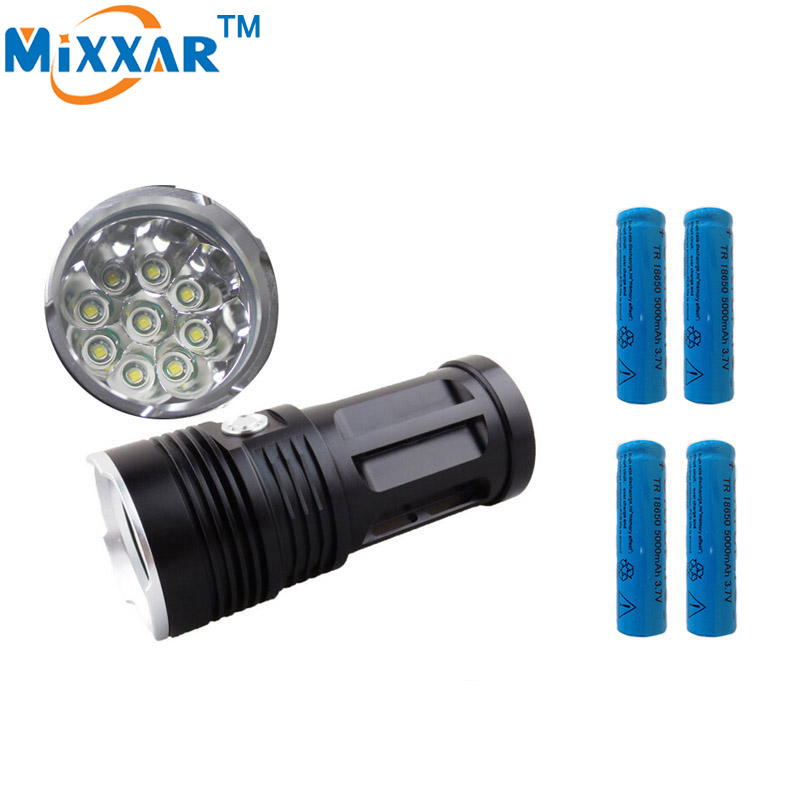 zk30 MI-9 18000LM led torch Camp Torch 9x Cree XM-L T6 portable  tactical Lantern flashlight  suitable 4x18650 battery 10pcs lot led tactical flashlight 18000 lumen 9 x cree xm l t6 camp hunting self defence 4 mode powered by 4 18650 battery