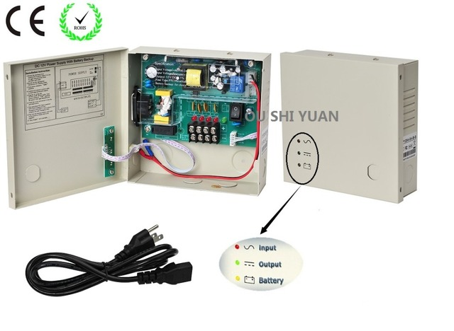 CCTV 4Channel DC12V 3A UPS Box Power Supply Support Battery CE ROHS For CCTV Camera
