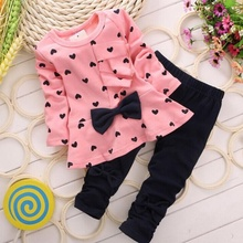 Kids Baby Girls Outfits Long Sleeve Cute Panda Tops+Striped Bow Pants 2Pcs Sets