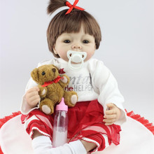 Cute Short Brown Hair Silicone Reborn Baby Dolls For Kids Education Early Toys 22 Inch 55 cm Lifelike Realistic Newborn Babies