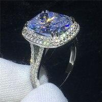 Большое кольцо 925 пробы Серебряная Подушка с 8ct AAAA фианит Роскошные Обручение обручальное кольца для женщин Свадебные палец вечерние украше