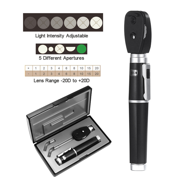 LED CE Adjustable Professional Medical Oftalmoscopio Eye Diagnostic Retinoscope Kit Opthalmic Direct Portable Ophthalmoscope