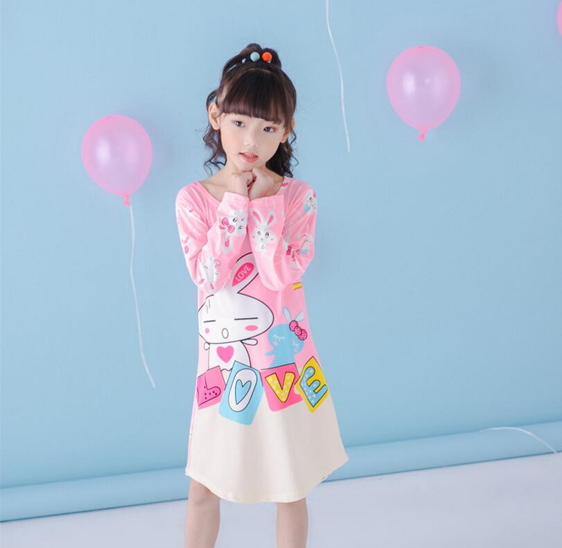 Spring Girls Nightgowns Long Sleeve Character Children Nightdress Knitted Conjoined Pajama Sleepwear Nightgown For Kid Girl