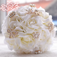 Artificial Wedding Bouquets Rose With Big Pearls Crystal Accessoire Beach Mariage