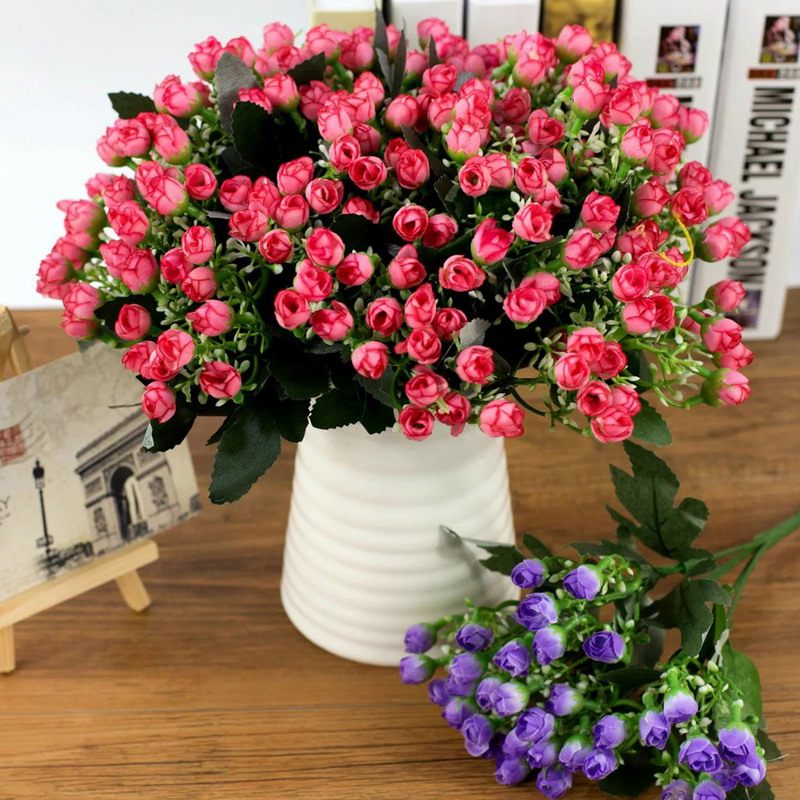 Blooming Artificial Flowers Decor Small Buds Simulation Silk Flowers Wedding Photo Decra ...
