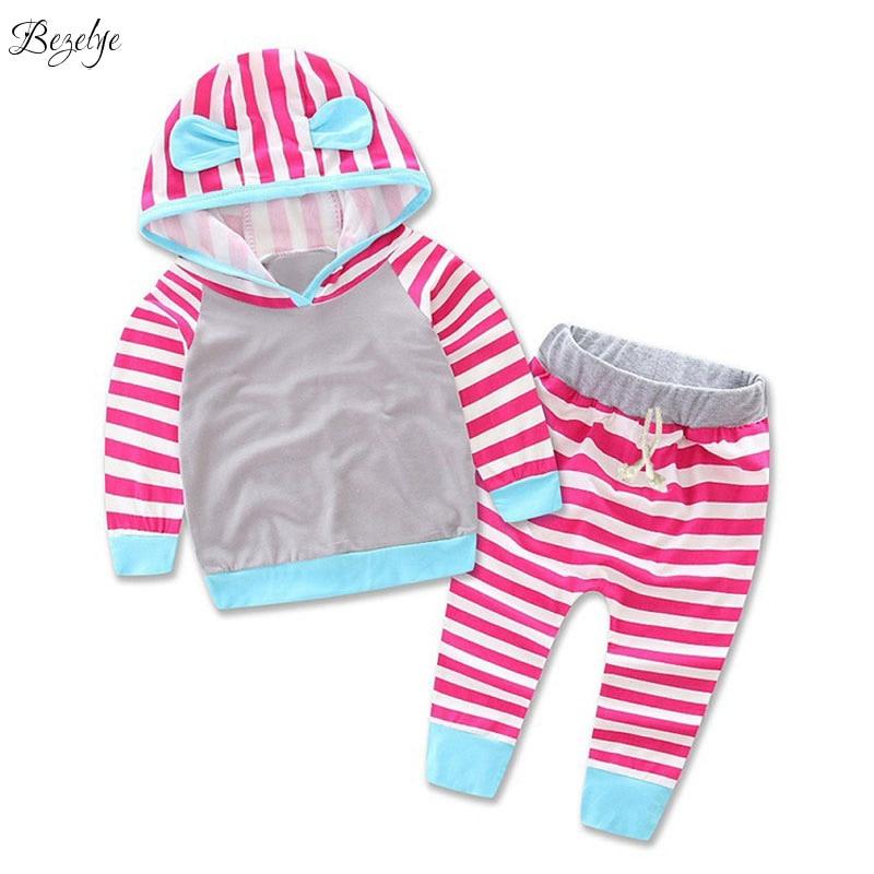 Одежда для малышей Наборы для ухода за кожей с капюшоном комплект одежды в полоску для модная одежда для девочек длинные рукава Детская оде...