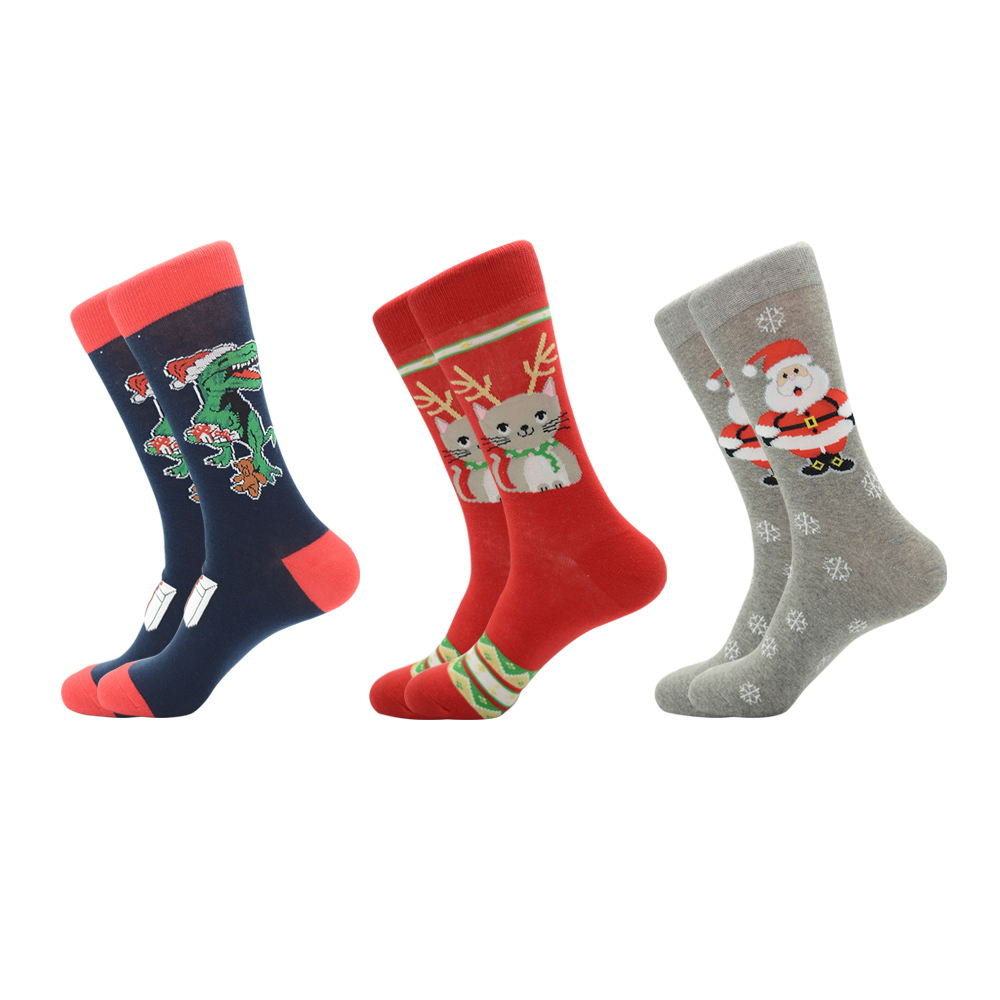 Jhouson 1 pair Fashion Crew Funny Christmas socks Colorful Mens Cotton Causal Dress Wedding Socks For Gifts