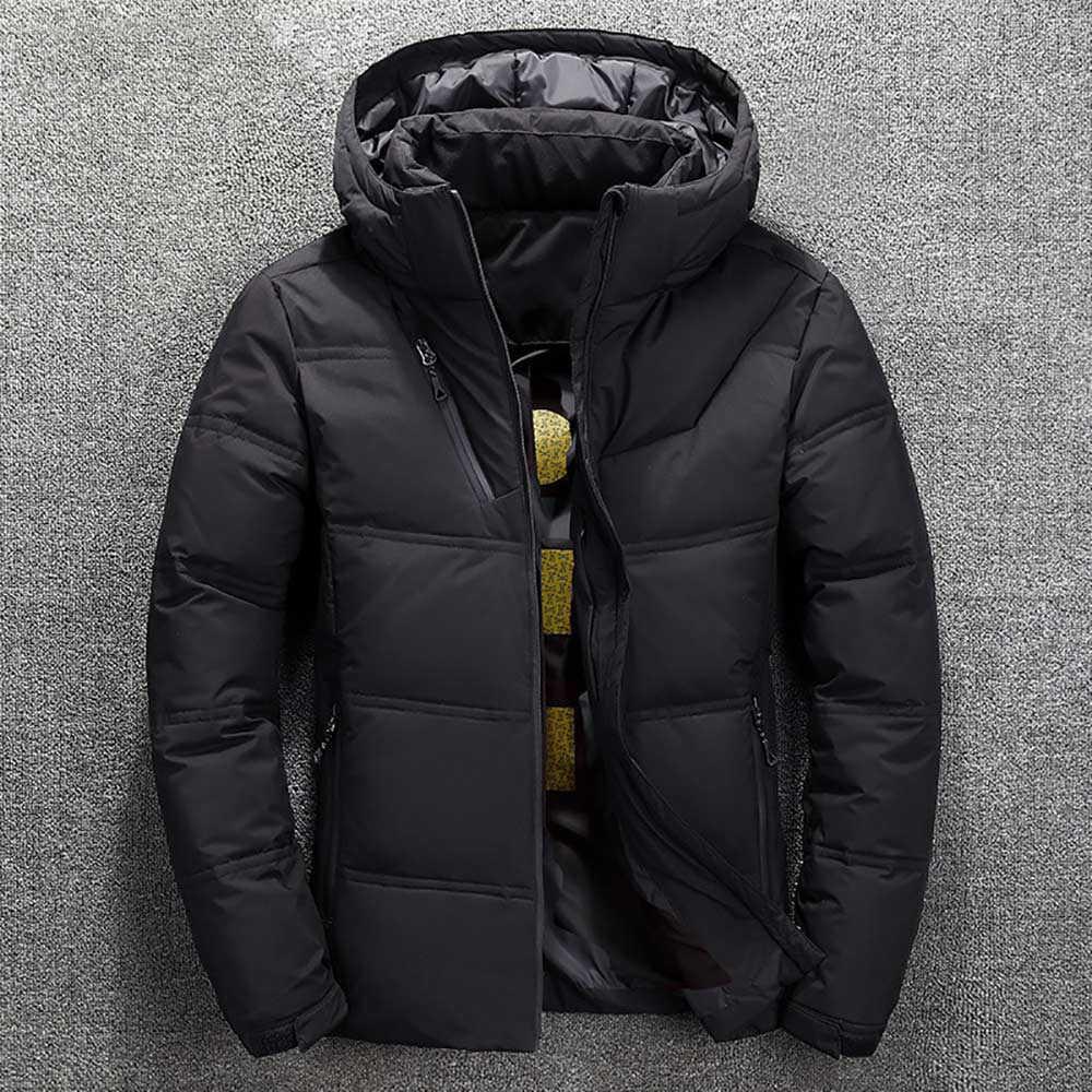 2019 kış ceket erkek kaliteli termal kalın ceket kar kırmızı siyah Parka erkek sıcak dış giyim moda beyaz ördek aşağı ceket erkekler