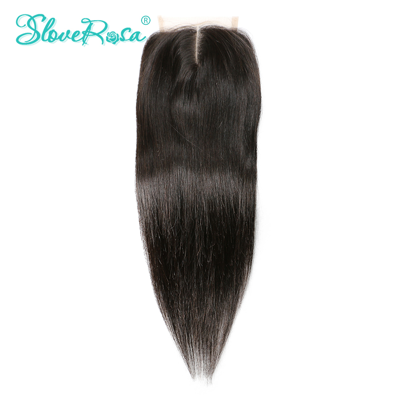 Slove Rosa Lace Closure Straight Human Hair Brazilian Remy Hair 4x4 Middle Brown Lace Middle Part Bleached Knots Free Shipping