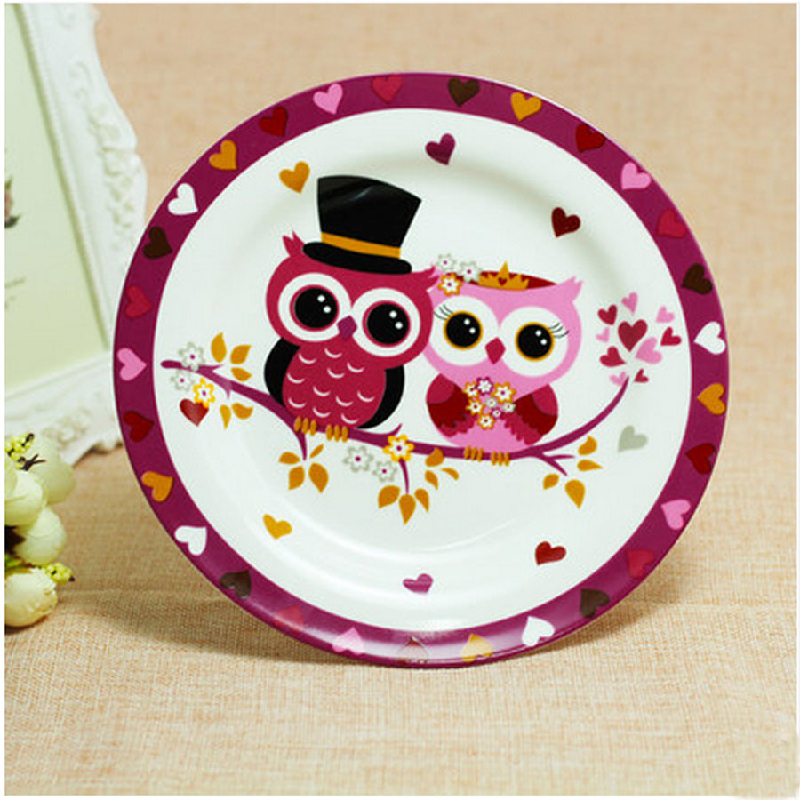 8 Inch Cartoon Creative Ceramic Plate Stands Handpainted Owl Dish Platter Bowl Pan Bone China Ceramic Cake and Fruit Plate-in Dishes u0026 Plates from Home ... & 8 Inch Cartoon Creative Ceramic Plate Stands Handpainted Owl Dish ...