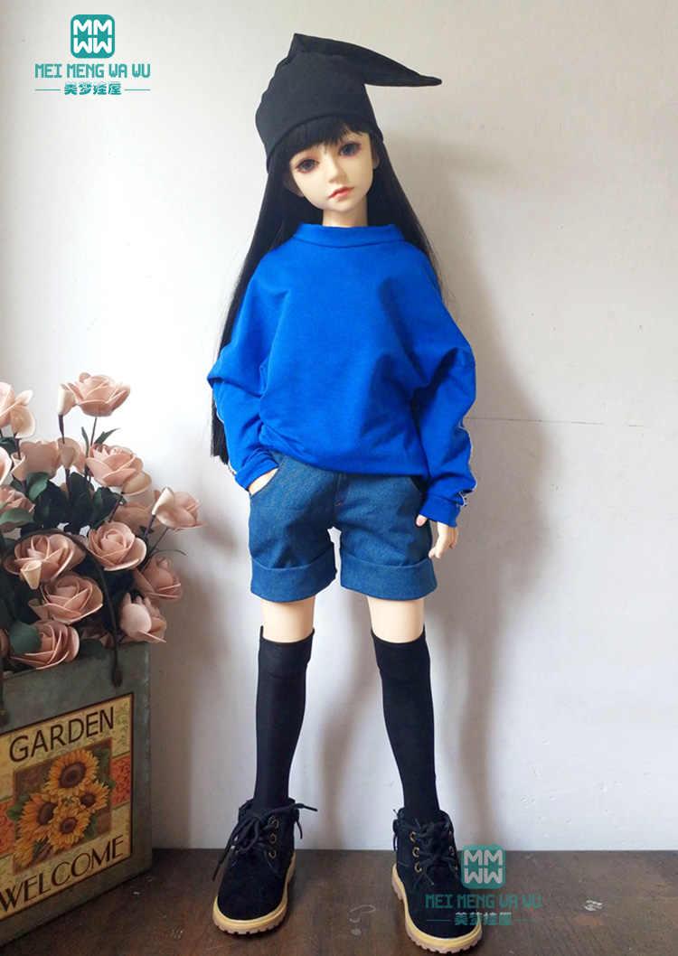 Vestiti PER LE BAMBOLE BJD pugno 60m 1/3 BJD SD DD bambola di modo rosso felpa casual e pantaloncini di jeans