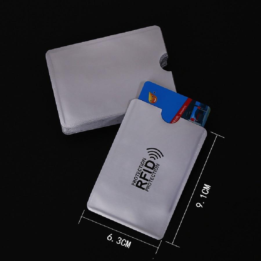 100pcs/lot Anti-Scan Card Sleeve Credit RFID Card Protector Anti-magnetic Aluminum Foil Portable Bank Card Holder