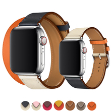 Double Tour strap for apple watch band 42mm 38mm apple watch 4 44mm 40mm iwatch 3/2/1 bracelet Genuine Swift leather watchband все цены