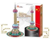 Juguetes educativos el Oriental Pearl Tower 3d modelo de ensamblaje rompecabezas de papel famoso juego de construcción de los niños creativos regalo 1 unid