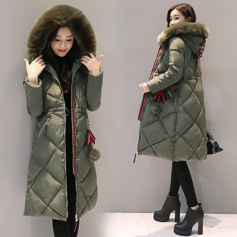 2017 롱 파커 스 여성 겨울 코트 대형 모피 칼라 자켓 여성 따뜻한 아웃웨어 얇은 패딩 코튼 자켓 코트 여성 의류-에서파카부터 여성 의류 의  그룹 3