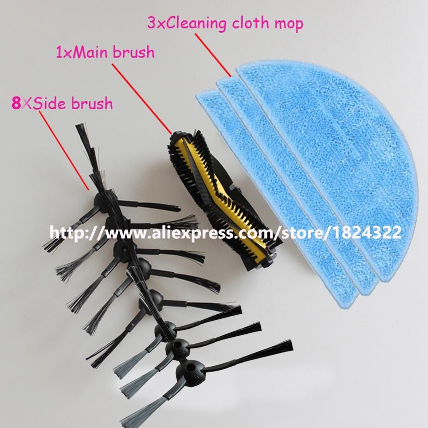 3x Cleaning Mop Cloth+1x Agitator Brush+8x Side Brush kit for ilife v7 chuwi v7 Robotic Vacuum Cleaner chuwi ilife v7 5x side brush kit 3x cleaning mop cloth replacement for ilife v7 chuwi v7 robotic vacuum cleaner chuwi ilife v7