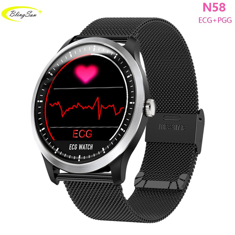N58 ECG PPG Smart Watch with Electrocardiograph Smart Bracelet Heart Rate Monitor Blood Pressure Smartwatch for iPhone Andoid