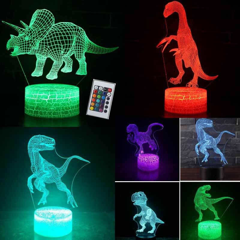 3D Illusion Dinosaurier Neuheit Spielzeug Lampe 7 Farbe LED Touch Schlafen Nachtlicht Tier Licht Glow In The Dark Spielzeug Jungen geburtstag Geschenk