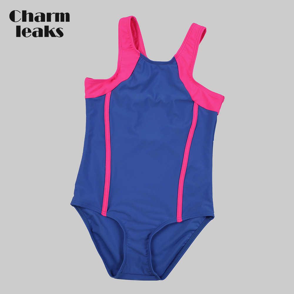 5e31226e08 Charmleaks Girl's One Piece Sport Swimsuit Splice Colorblock Swimwear  Training Racerback Bikini Wear Beachwear