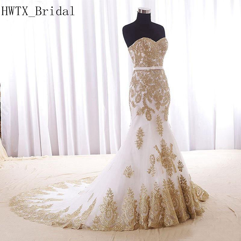 Gold Gowns Wedding: Gold Lace Mermaid Wedding Dress 2019 Sweetheart Corset