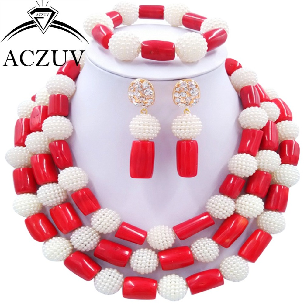 Brand ACZUV White Imitation Pearl and Red Nigerian African Coral Beads Jewelry Set Dubai Indian Jewellery Necklace AN075 2016 women diamond watches steel band vintage bracelet watch high quality ladies quartz watch