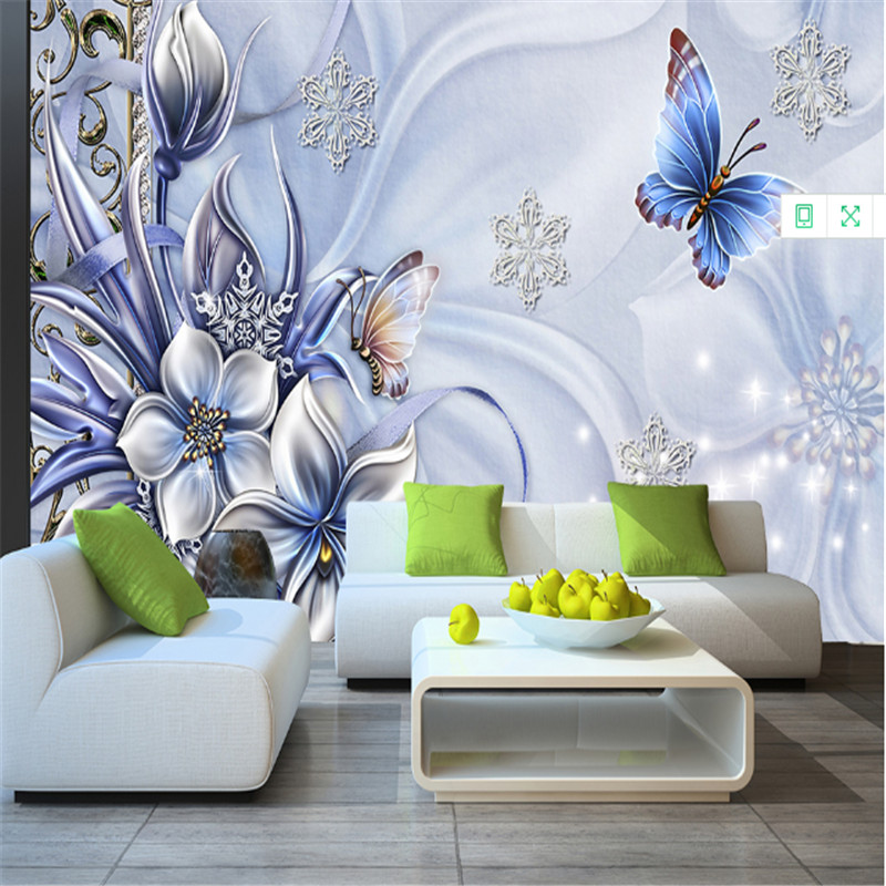 custom modern 3d photo non-woven wallpaper 3d mural wallpaper blue fantasy lily butterfly mural background wall for living room 3d wallpaper custom hd photo non woven mural wallpaper hotel colorful club ktv background home decor 3d wall mural wallpapers