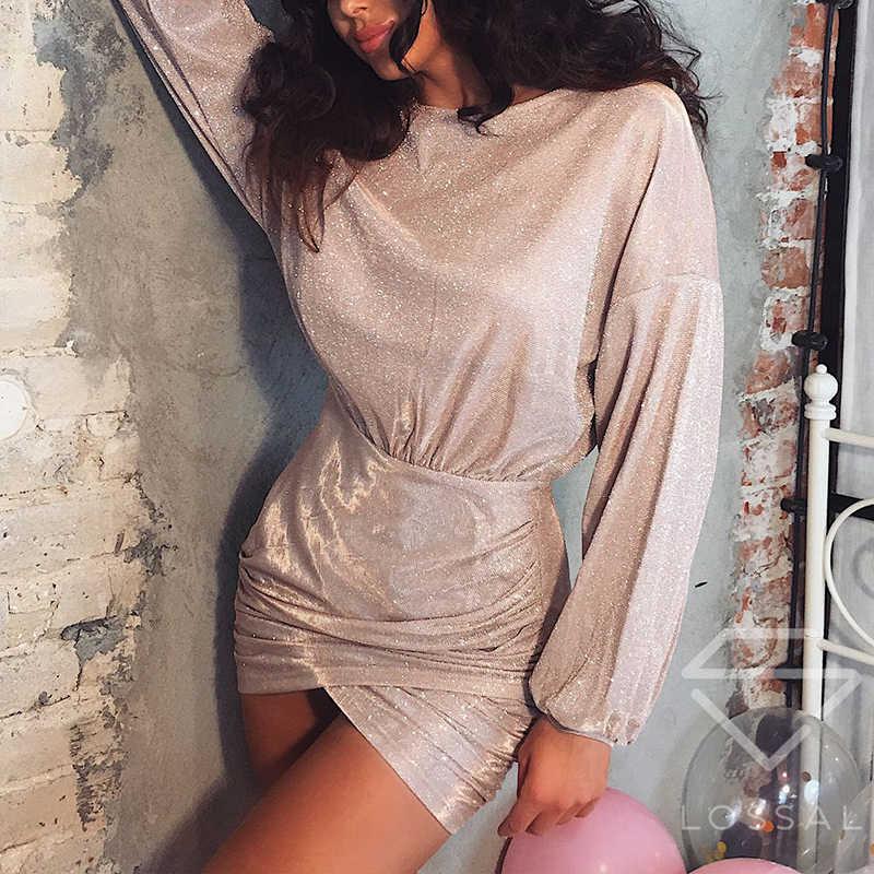a2aa987831 Gold Sequin Bodycon Dresses Women 2019 Sexy Lantern Sleeve Dress Club Wear  Mini Short Dresses Party Night Vestidos SJ1467V