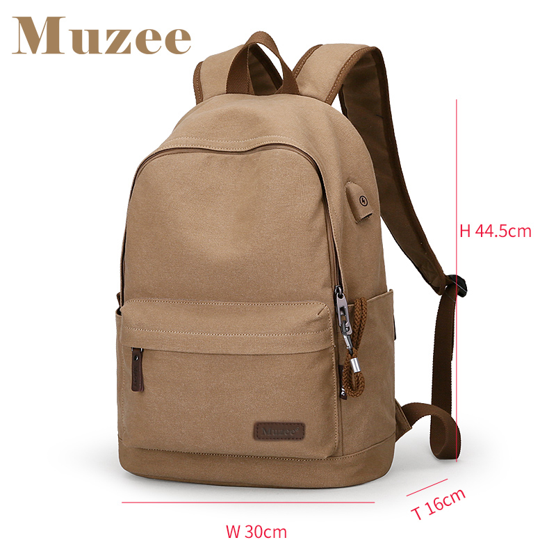2019 Muzee nouveau sac à dos en toile Anti-vol collège étudiants école sac à dos USB charge conception sacs pour adolescent voyage sac à dos - 3