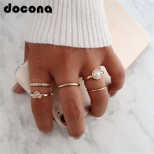 docona Punk Gold Color Pearl Heart Crystal Ring Set for Women Girl Alloy Round Knuckle Midi Ring Set 5pcs/1set 6557(China)