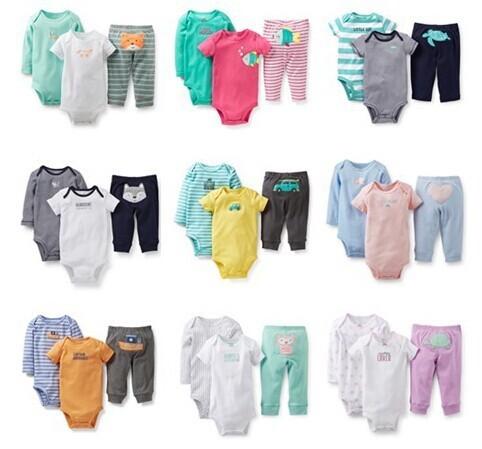 Marca de roupa infantil Triângulo Romper bebê dos desenhos animados padrão três-pedaço de algodão curta-mangas compridas-collant de mangas compridas